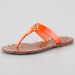 Tory Burch Cameron thong sandals orange gold 9